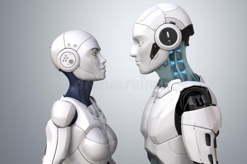 插画 包括有 远期, 翻译, 概念, 机器人, 智能, 当代, 女性, 靠机械图片