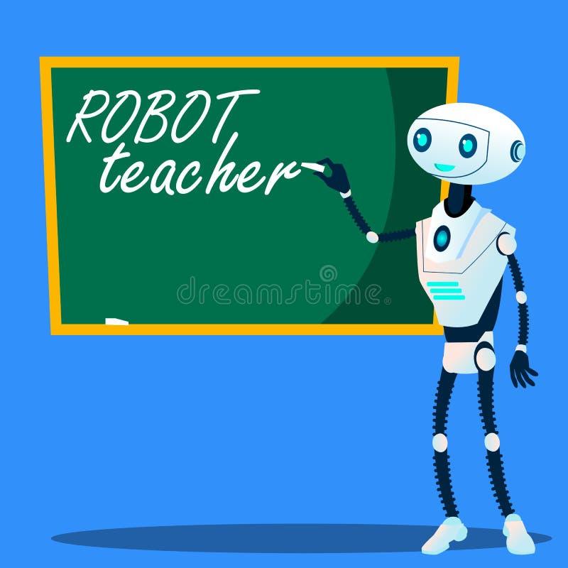 机器人老师在黑板传染媒介写 按钮查出的现有量例证推进s启动妇女 库存例证