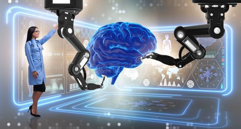 机器人胳膊完成的脑部手术 库存照片