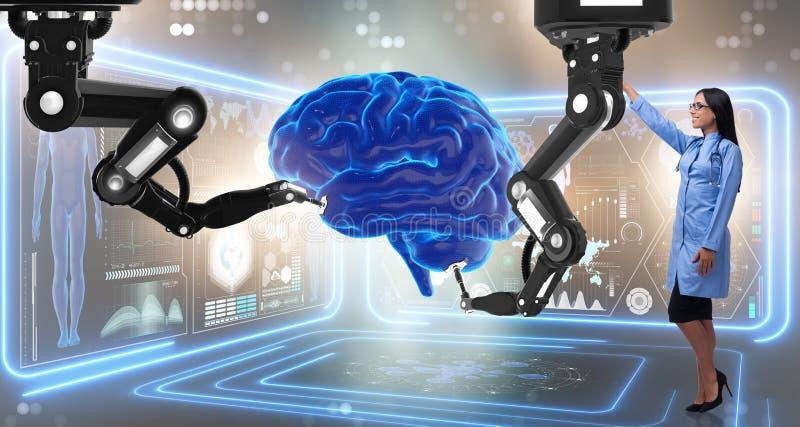 机器人胳膊完成的脑部手术 免版税库存图片