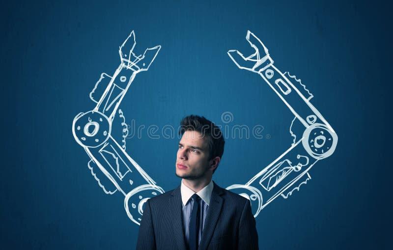 机器人胳膊概念 免版税库存照片