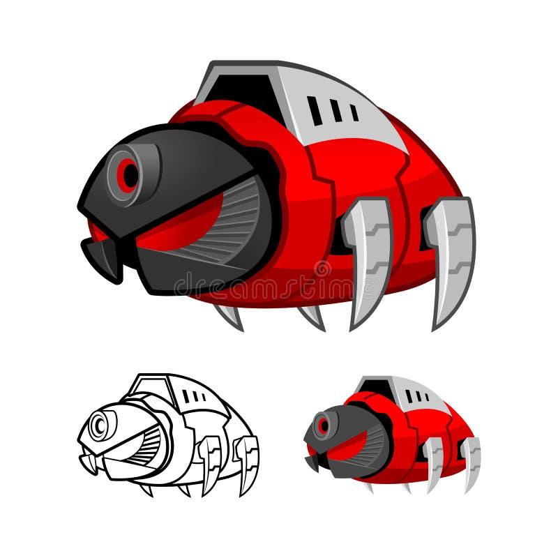 机器人蟑螂漫画人物 向量例证