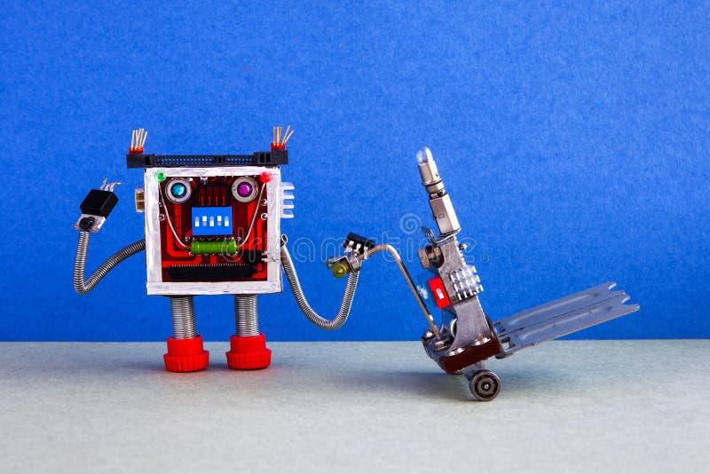 机器人装载者和送货服务自动化后勤指导方针 友好的机器人字符移动的手推车机制 库存照片