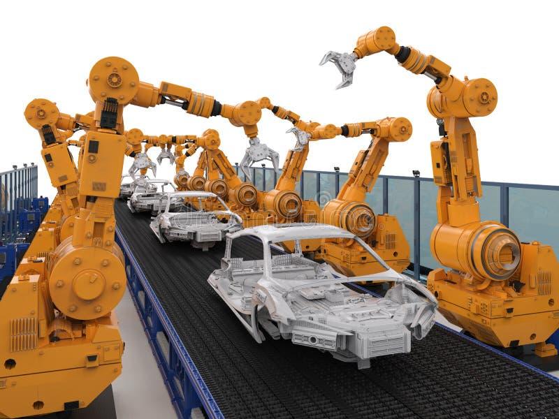 机器人装配线在汽车工厂 库存例证