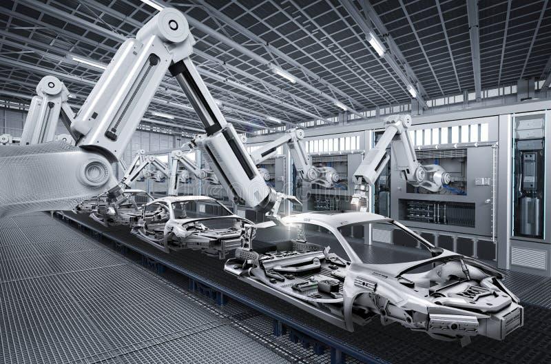 机器人装配线在汽车工厂 皇族释放例证