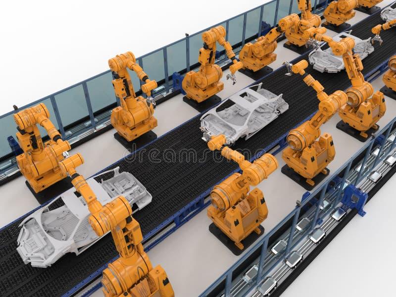 机器人装配线在汽车工厂 免版税库存图片