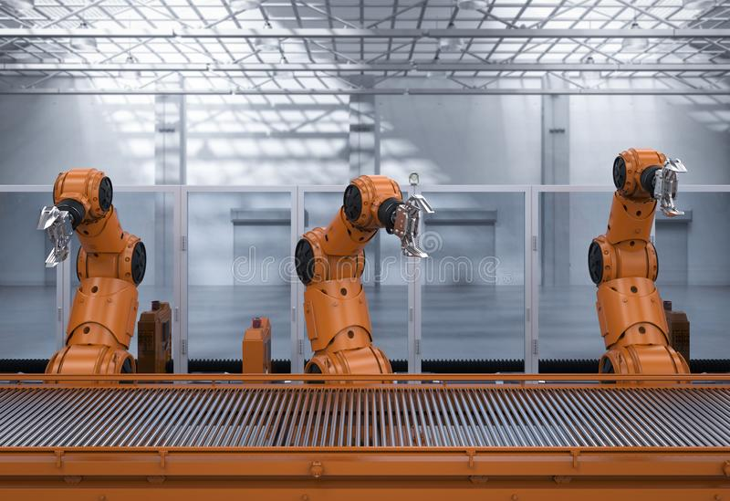 机器人装配线 皇族释放例证