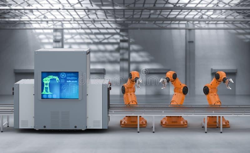 机器人装配线 免版税库存图片