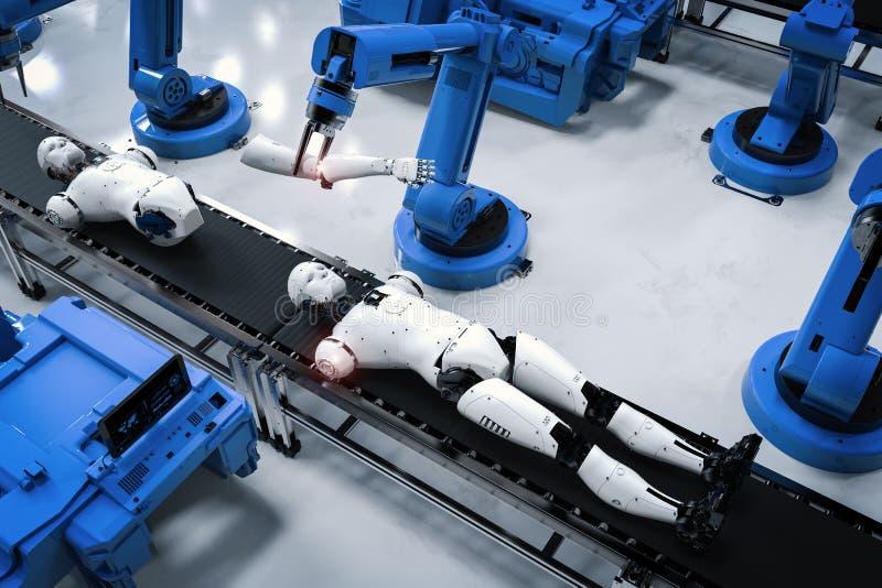 机器人装配线 向量例证