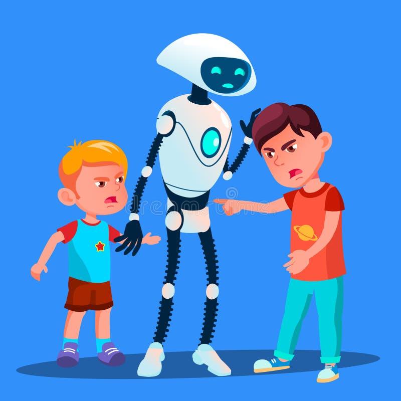 机器人设置分开与孩子传染媒介战斗的两个男孩 按钮查出的现有量例证推进s启动妇女 向量例证
