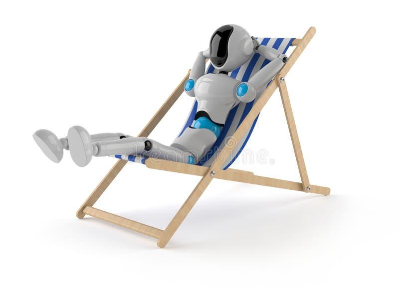 机器人说谎在轻便折叠躺椅 向量例证