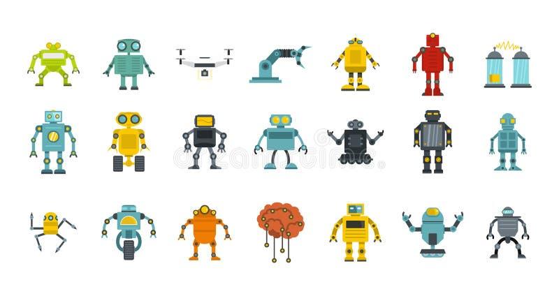 机器人象集合,平的样式 库存例证