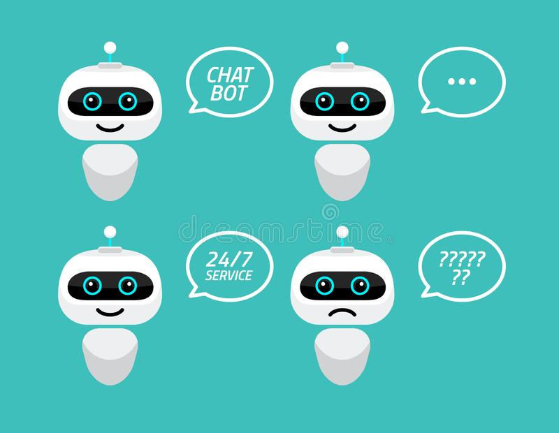 机器人象 闲谈支助服务概念的马胃蝇蛆标志 Chatbot字符平的样式 皇族释放例证