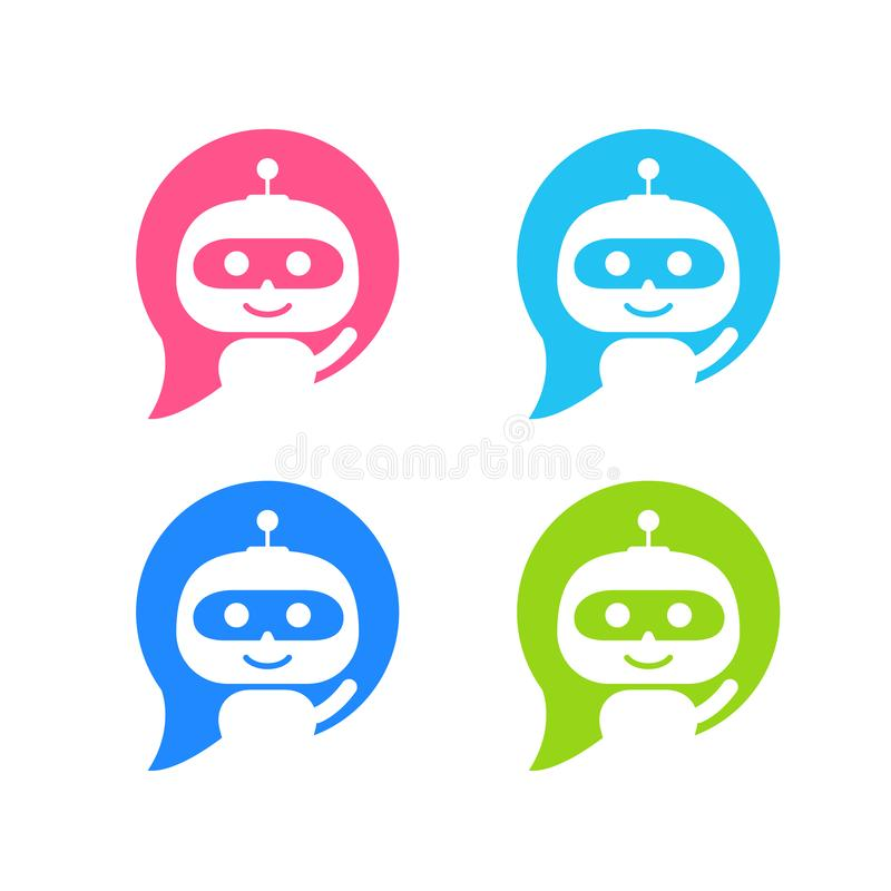 机器人象 闲谈支助服务概念的马胃蝇蛆标志 Chatbot字符平的样式 库存例证