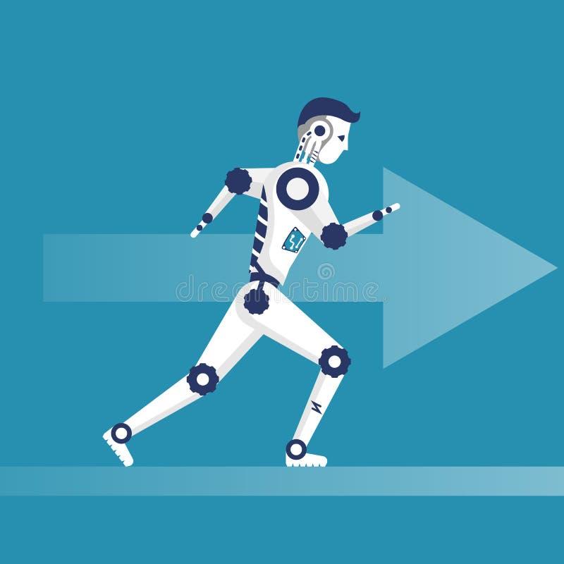 机器人赛跑 有最快速度的靠机械装置维持生命的人在竞争中 库存例证