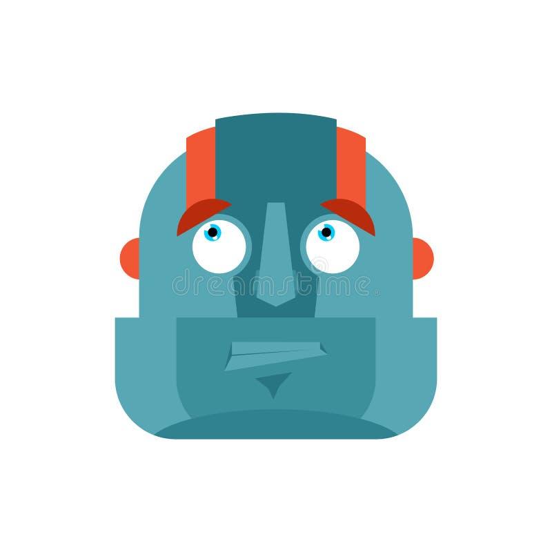 机器人迷茫的emoji哟面孔具体化 靠机械装置维持生命的人为难的情感 皇族释放例证
