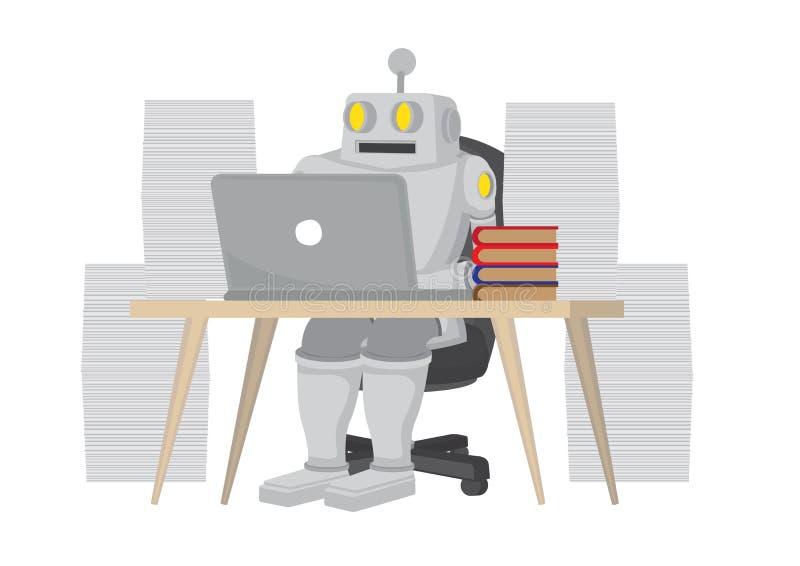 机器人通过不间断工作提高生产率 描述了人工智能的积极性 分离矢量动画 皇族释放例证