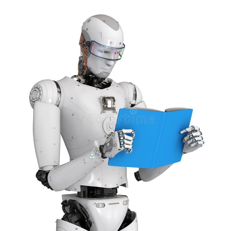 机器人阅读书 向量例证