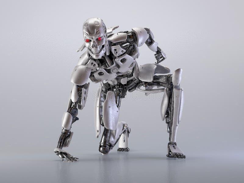 机器人靠机械装置维持生命的人人,人工智能技术概念 3d例证 向量例证