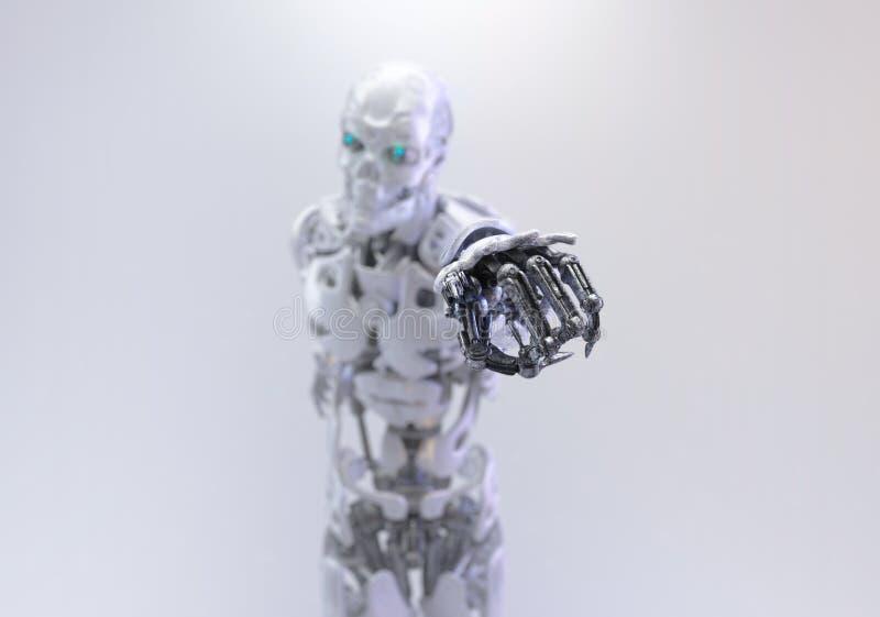 机器人靠机械装置维持生命的人人,把手指指向您 3d例证 向量例证