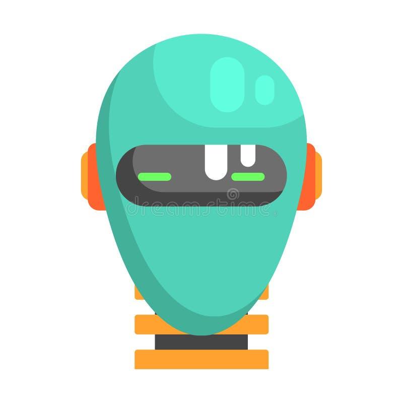 机器人顶头饰面画象,一部分的动画片象未来派机器人和IT科学系列  向量例证
