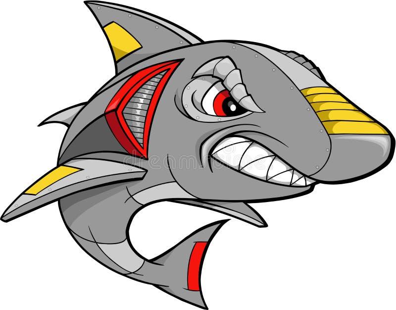 机器人鲨鱼向量 向量例证
