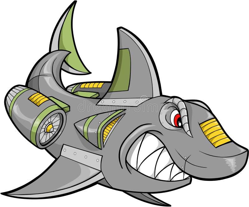 机器人鲨鱼向量 皇族释放例证