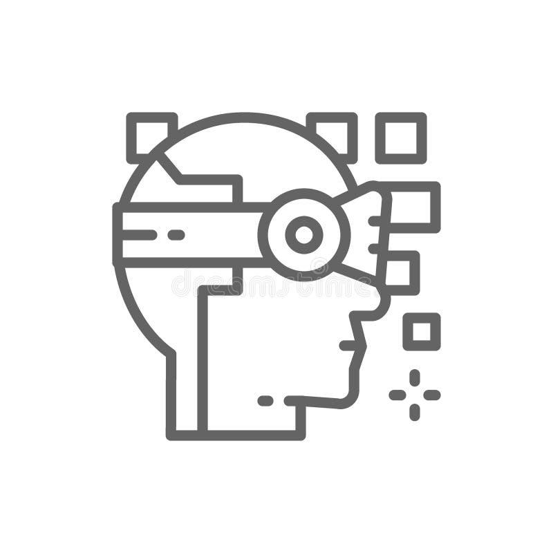 机器人,人工智能,360度视图,虚拟现实盔甲线象 向量例证