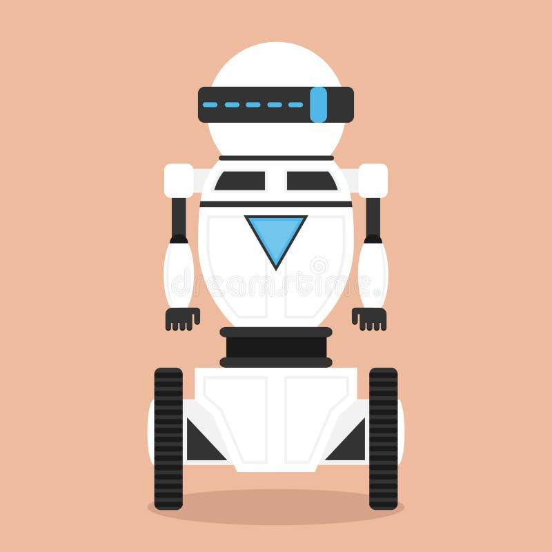 机器人,在轮子的现实白色机器人 库存例证