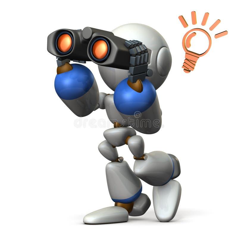 机器人,寻找某事与双筒望远镜 库存照片
