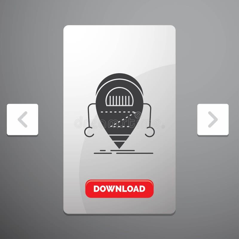 机器人,beta,droid、机器人、技术纵的沟纹象在喧闹的酒宴页码滑子设计&红色下载按钮 向量例证
