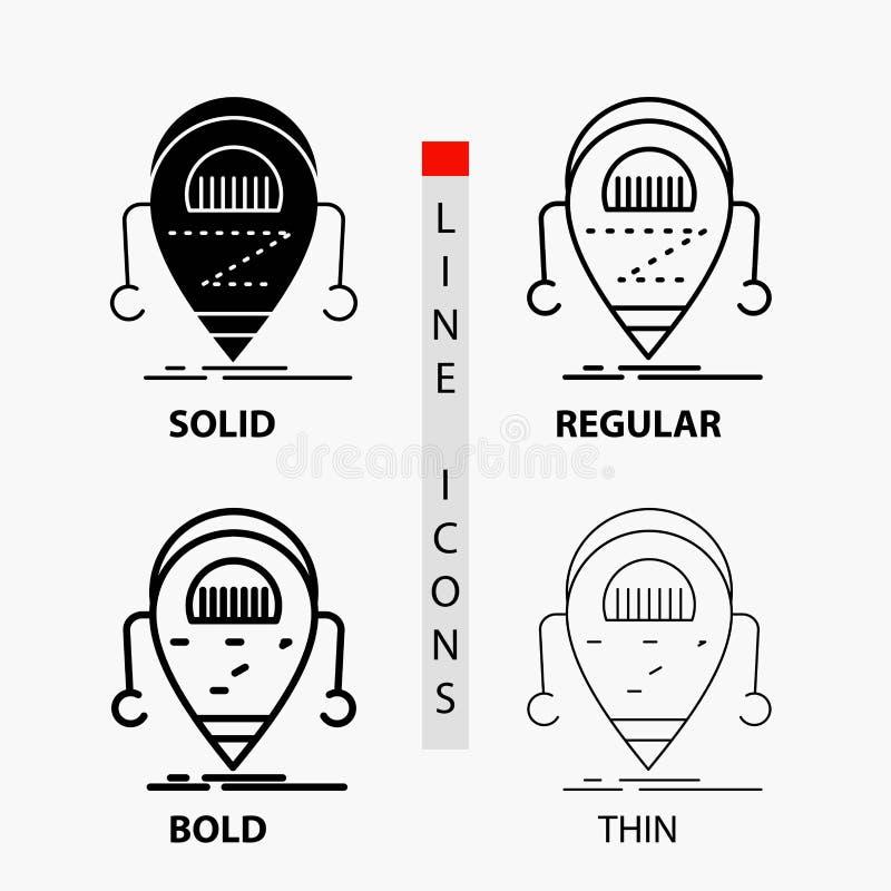 机器人,beta,droid,机器人,在稀薄,规则,大胆的线和纵的沟纹样式的技术象 r 皇族释放例证