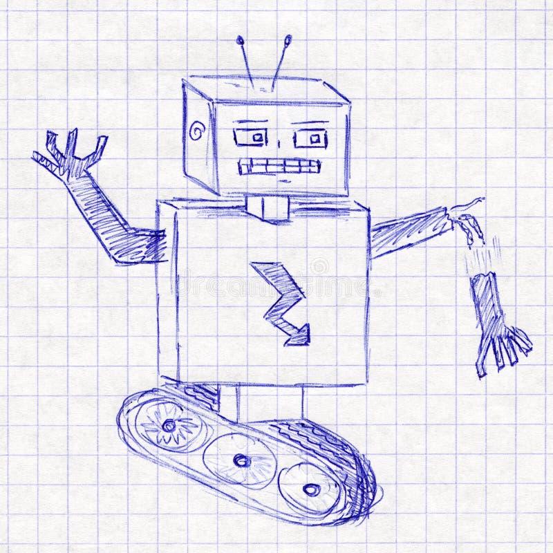 机器人 在学校笔记本的儿童的图画 向量例证