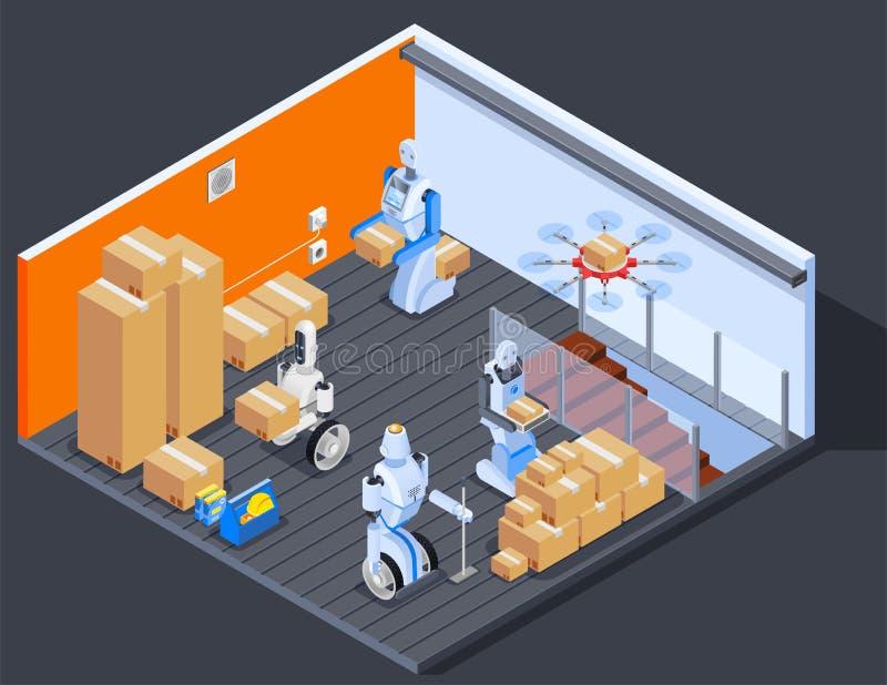 机器人仓库工作者构成 皇族释放例证
