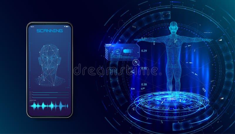 机器人 生物统计的证明或面部识别系统概念 生物统计的技术,数字面孔扫描的概念, 皇族释放例证