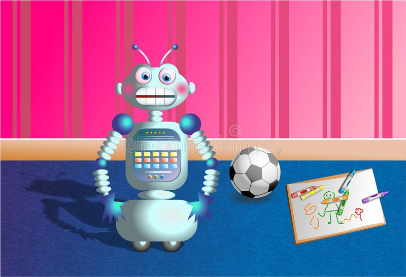 Download 机器人 库存例证. 插画 包括有 重新创建, 颜色, 图画, 图象, 作用, 对象, 足球, 小配件, 例证, 气球 - 54449