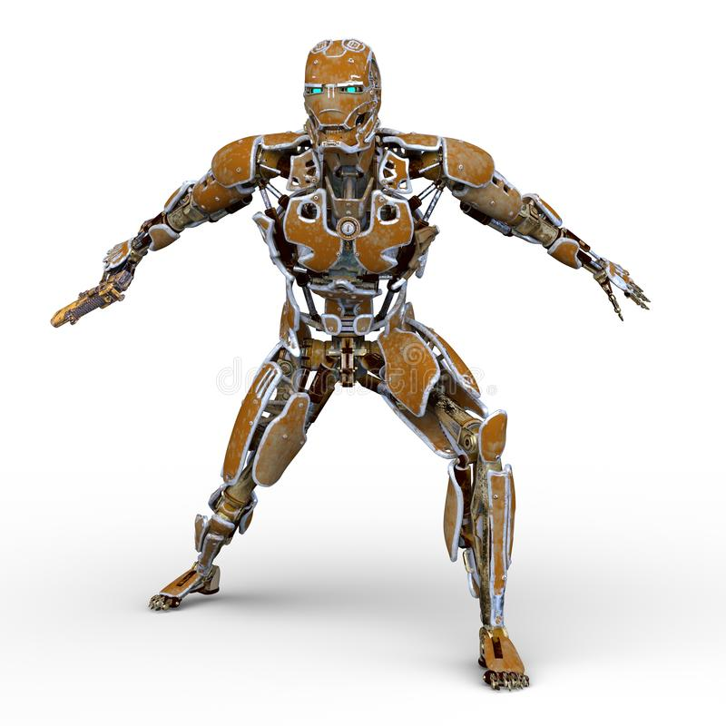 机器人3D CG翻译  皇族释放例证