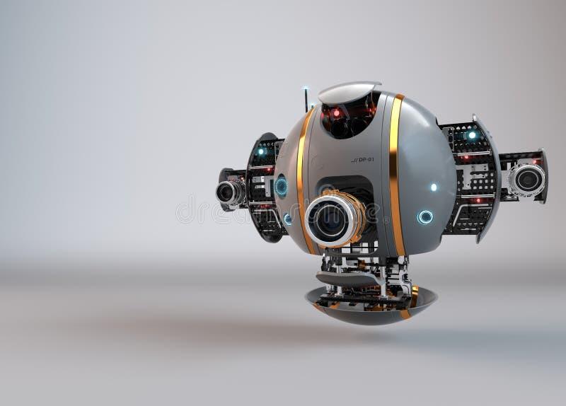 机器人 droid 飞行照相机寄生虫 库存例证