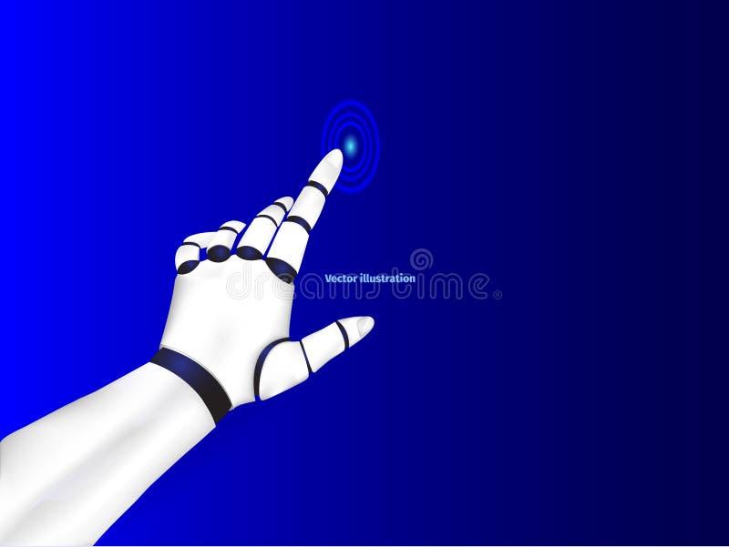 机器人` s手现实传染媒介点击按钮和点与手指 金属机器人胳膊一个深蓝特写镜头  皇族释放例证