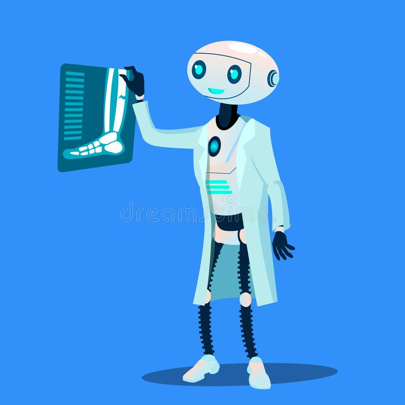 机器人Examines X-Ray Photograph Of医生断腿传染媒介 按钮查出的现有量例证推进s启动妇女 向量例证