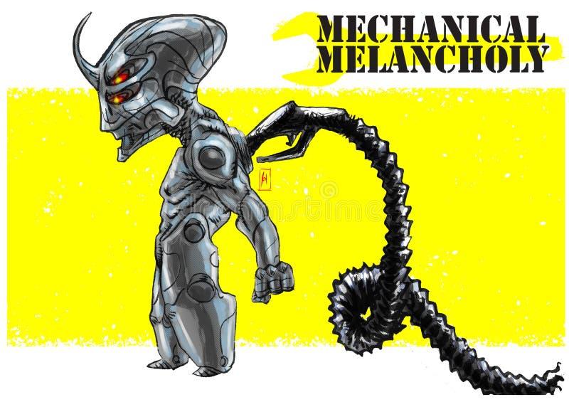 机器人mecha mecchanical忧郁 皇族释放例证