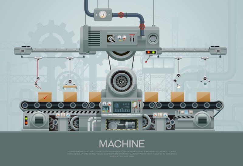 机器和制造机械工厂 向量例证