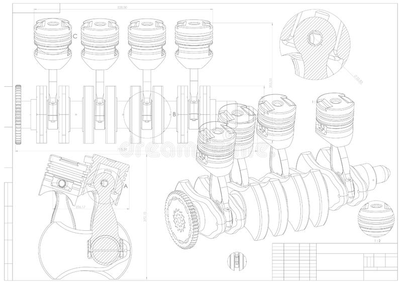 机器大厦图画 在白色的引擎汽车 皇族释放例证