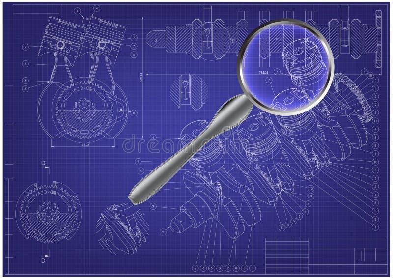 机器大厦图画 在蓝色的引擎汽车 库存例证