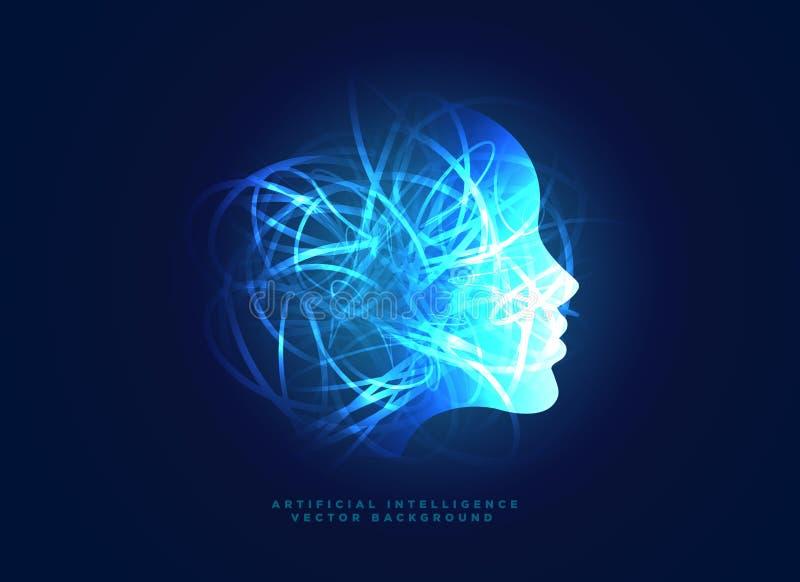 机器学习和人工智能概念背景 皇族释放例证