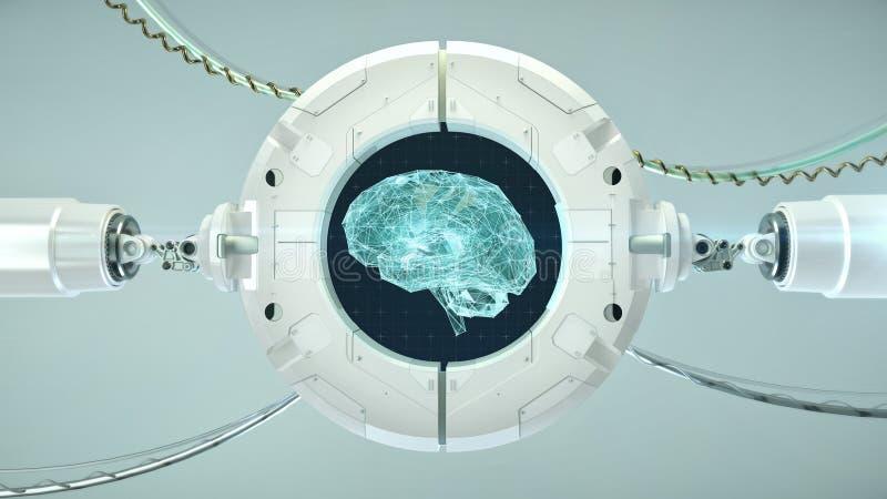 机器学习,人工智能, ai,深刻的学习的blockchain神经网络概念 用发光做的脑子 向量例证