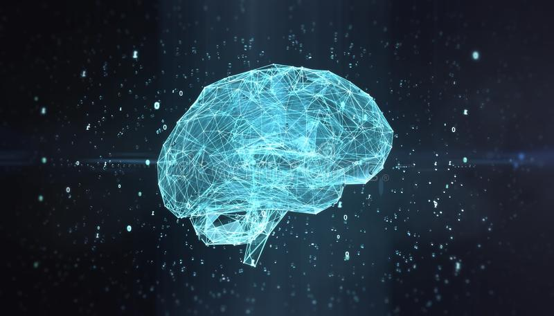 机器学习,雾演算,人工智能,ai,深刻的学习的blockchain神经网络概念 头脑的 向量例证