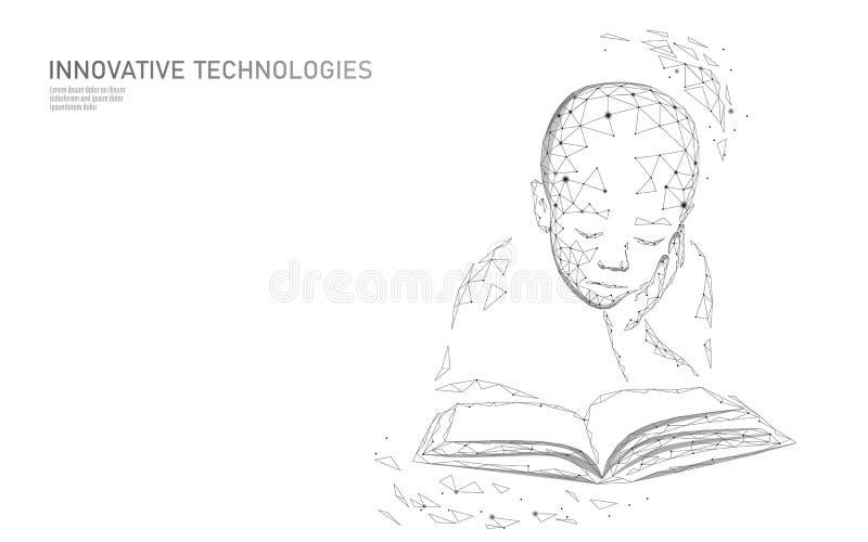 机器学习3D低多技术企业概念 神经网络人工智能靠机械装置维持生命的人儿童男孩形状 库存例证