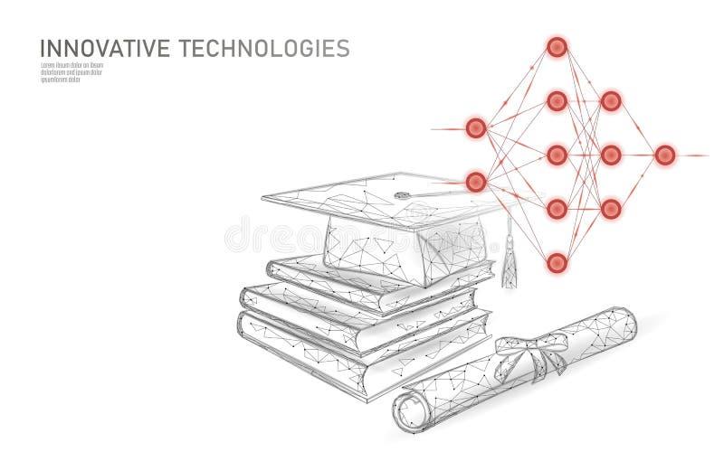 机器学习3D低多技术企业概念 训练人工智能的神经网络 毕业 库存例证