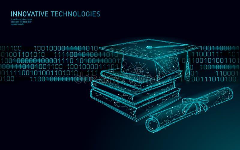 机器学习3D低多技术企业概念 训练人工智能的神经网络 毕业 皇族释放例证